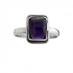 ANILLO DE AMATISTA Y PLATA, RECTANGULAR